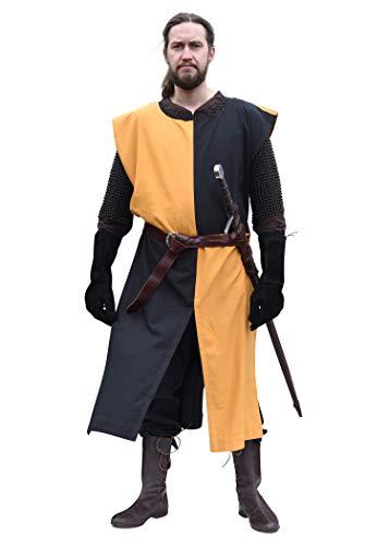 Battle-Merchant Eckhart - Tunica/casacca medievale - ideale come costume da cavaliere - tinta unita/a scacchi - Giallo/nero - S/L