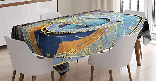 ABAKUHAUS Orologio Tovaglia, Centro Storico Medievale, Rettangolare per Sala da Pranzo e Cucina, 140 cm x 240 cm, Blu e Giallo