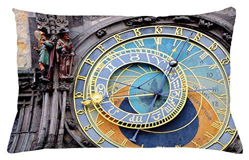 ABAKUHAUS Orologio Federa Fodera Cuscino, Centro Storico Medievale, Copricuscino Quadrato Decorativo, 65 cm x 40 cm, Blu e Giallo
