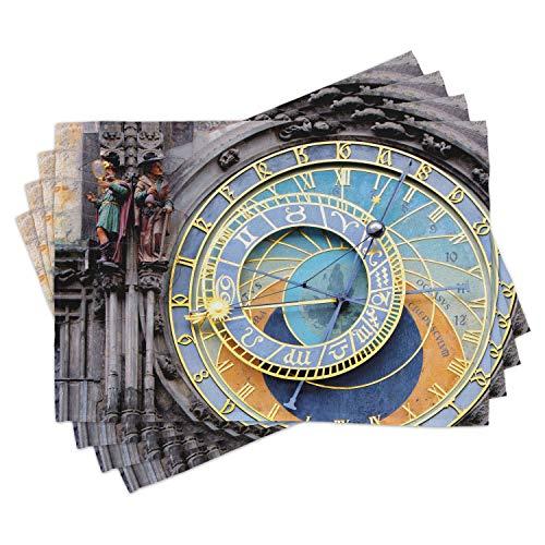 ABAKUHAUS Orologio Tovaglietta Americana Set di 4, Centro Storico Medievale, Tovagliette in Tessuto Lavabile per Tavolo da Pranzo Cena, Blu e Giallo