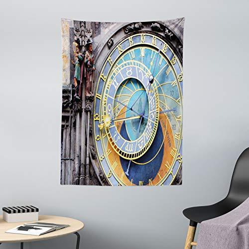 ABAKUHAUS Orologio Tappeto da Parete e Copriletto, Centro Storico Medievale, per la Camera da Letto, 110 x 150 cm, Blu e Giallo