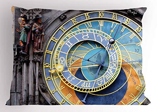 ABAKUHAUS Orologio Federe Cuscini Stampata, Centro Storico Medievale, Decorativo e Dimensioni Standard, 75 cm x 50 cm, Blu e Giallo
