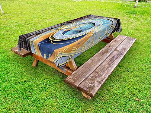 ABAKUHAUS Orologio Tovaglia da Esterno, Centro Storico Medievale, Tovaglia da Picnic Lavabile Decorativa, 145 cm x 210 cm, Blu e Giallo